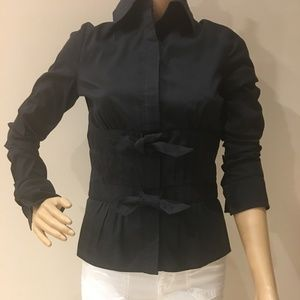 Etcetera Black Bow Tie Button Shirt Size 0